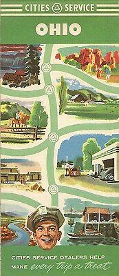 1950 CITIES SERVICE Gas Station Locator Road Map OHIO Columbus Cincinnati