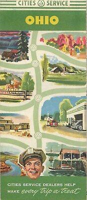 1952 CITIES SERVICE Gas Station Locator Road Map OHIO Cleveland Cincinnati US30