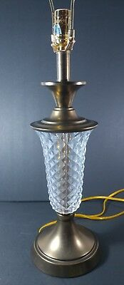 "Vintage Stiffel Brass & Glass Table Lamp Desk Light 27"" Tall"