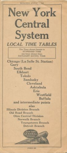 1947 New York Central Railroad System Local Time Tables Folder