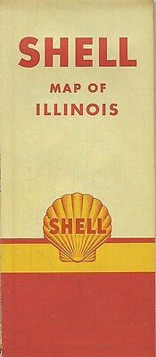 1951 Shell Oil Co Road Map Illinois Route 66 Springfield Peoria Rockford Chicago