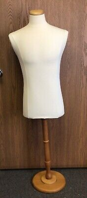Male Torso Polyurethane Mannequin Features Natural Wooden Stand 54-12 Tall