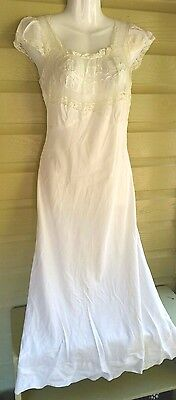 Vintage lingerie night gown white lng Unknown Brand sz S empire bust lace trim