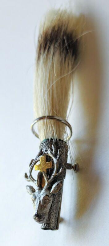 Vintage German Gamsbart Pin With Deer And Cross