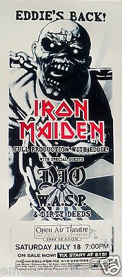 IRON MAIDEN / DIO / WASP 1998 SAN DIEGO CONCERT TOUR POSTER - Heavy Metal Music