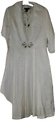16W Beautiful White Fluff bottom metallic sparkle gown w/ Jacket/Wedding