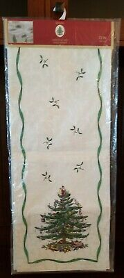 "NEW * SPODE CHRISTMAS TREE TABLE RUNNER 14"" X 72"" INCH IVORY DAMSK GREEN RIBBON"