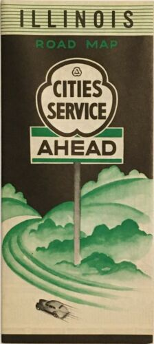 1938 Cities Service Road Map: Illinois NOS