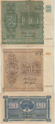 Finland Lot-4 Banknote:10,20,50 100 Markkaa Banknotes,1945,Very Fine Condition