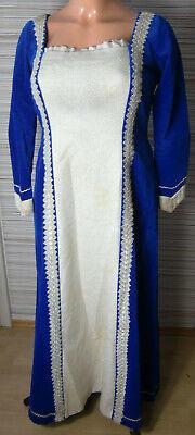 Samt Kleid Barock Adel blau silber L 42 - Tudor Kleider Kostüme