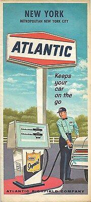 1967 ATLANTIC RICHFIELD Red Ball Gas Station Road Map NEW YORK Long Island Utica