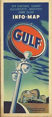 1941 Gulf Road Map Massachusetts Connecticut Rhode Island New Hampshire Vermont