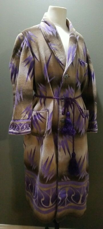 Vintage Beacon Robe SouthWestern Ombre Pattern Purple Tan Shadow  Large