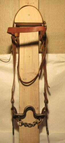 KELLY western horse bit - mounted - with Western LEATHER HEADSTALL - bit damaged