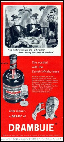 1955 Drambuie Prince Charles Edward liqueur comic art vintage Print Ad  ads25