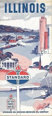 1964 Standard Oil Road Map Illinois Route 66 Chicago Springfield Peoria Rockford
