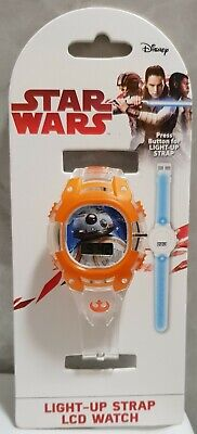 DISNEY STAR WARS BB8 Digital Light up Strap LCD Watch SWJ4036 Kids Boys RRP £15