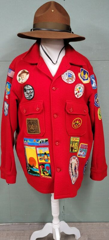 Vintage 70's Red Wool Boy Scouts of America Coat/Jacket w Patches/Leader Hat 7.5