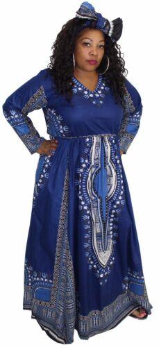Ethnic Long Sleeve Elasticized Dashiki Long Maxi Waist Dress