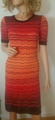 Vtg Missoni White Label Womens Knit Dress Chevron Print Oranges Size S