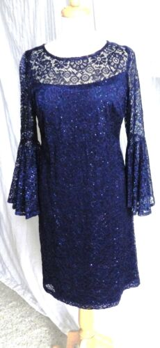 R&M Richards Sequins and Lace Deep Navy size 8 ~ Flirty & Fun!