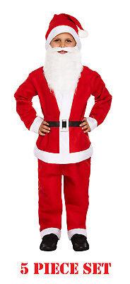 Boys Father Christmas Santa Claus Suit Costume Outfit Child Kid Fancy Dress Xmas