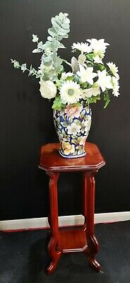 Vintage Wooden Plant Stand Mahogany Wood 2 Tier Victorian Style Carved Square