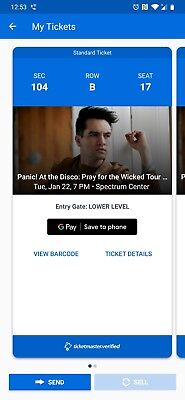 Panic! At The Disco Ticket for Jan. 22, 2019 concert