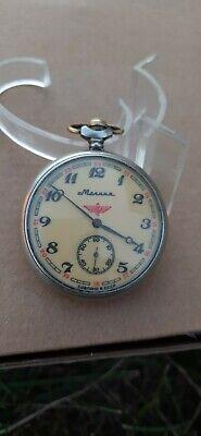 Vintage Soviet USSR Pocket Watch Molnija Locomotive Train 3602 18 jewels Working