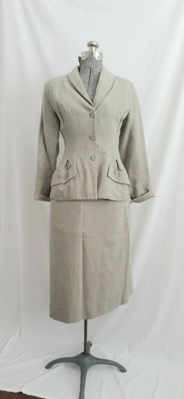 Vintage 1940s/50s Wool Skirt Suit Two Tone Heathered Gray Yellow Nipped Waist