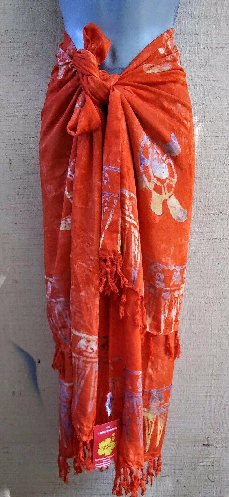 Bali Sarong Batik Fringed Orange Turtles Pareo Dress Skirt