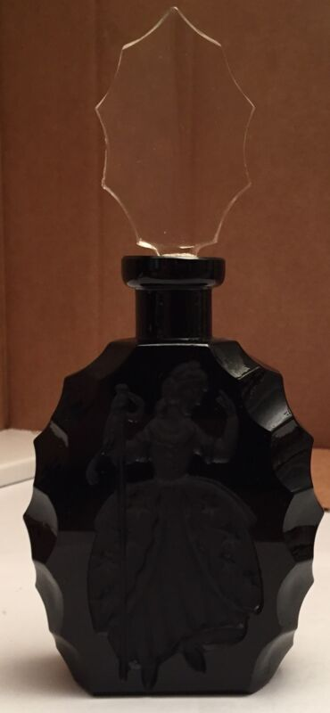"Vintage Art Deco Opaque Black Czecholslovakian Perfume Bottle with ""Bo Peep"""