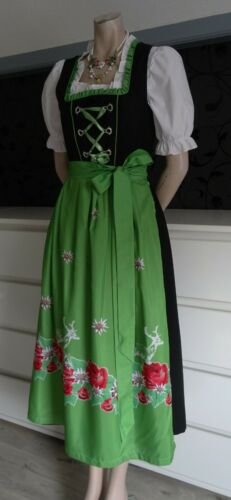 German Austrian Midi Dirndl Dress  Blouse Apron 6