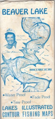 c1980 Beaver Lake Contour Fishing Maps Brochure