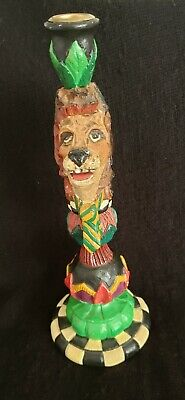 Peggy Fairfax Herrick Hatten 1998 Lion Totem Pole Wood Candlestick Holder 1 qty