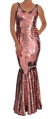 NEW $14200 DOLCE & GABBANA Dress Crystal Pink Sequined Sheath Gown IT40 / US6 /S