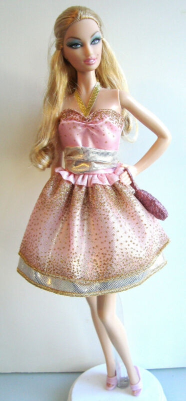 Barbie Clothes/Fashions Pink & Gold Dress Pretty NEW!!