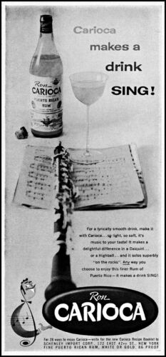 1955 Ron Carioca rum flute makes a drink sing glass vintage photo print ad ads44