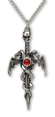- Gothic Skull On Sword with Dragons Silver Finish Pewter Pendant Necklace NK-681