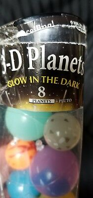 Mini 3D Planets Solar System Glowing Space Play Kids Toys Tube Glow In The Dark
