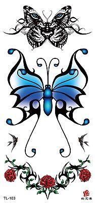 US SELLER, female lower back tattoos butterfly rose temporary tattoo Butterfly Lower Back Temporary Tattoo