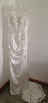 New Ivory Sheath Sleeveless Wedding Dress Column Scoop Neck Applique Train 12