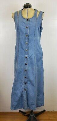 Women Denim Dress maxi long jumper blue Jean's sleeveless snap button's large Blue Jean Jumper