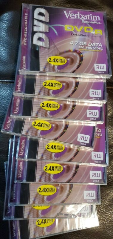 "9 Verbatim DVD+R DataLifePlus 4.7 GB 120 Min Video 2.4X Speed ""Case for Each"""