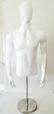 Male Glossy White Body Mannequin - With Base - 54 Inches Heigh