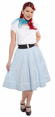 50s Style Blue & White Ric Rac Circle Skirt - Party, Sock Hop, Swing - S to XL - Sock Hop Fashion