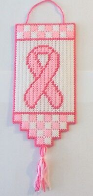 Handmade Breast Cancer Support Banner Sign Plastic Canvas](Breast Cancer Banners)