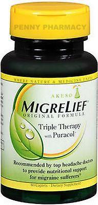 - Migrelief Migraine Caplets Triple Therapy 60ct  PHARMACY FRESH!