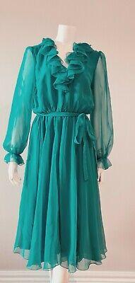 80s Dresses   Casual to Party Dresses Vintage Dress Janelle Green Chiffon Tie Waist  Dress size 16 1/2  (10-12) $55.03 AT vintagedancer.com