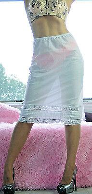 (VTG Deena White Cotton Blend Fancy Lacy Half Slip Skirt sz S)